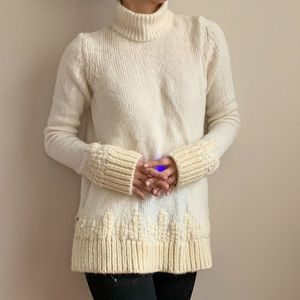 Sleeping on Snow Embroidered Ivory Mock Sweater